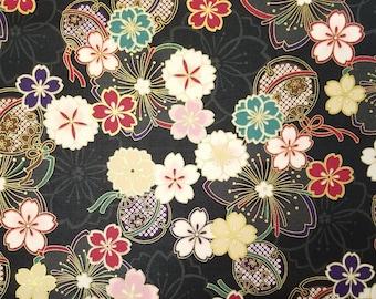 Quilt Gate Hyakka Ryoran Suzune cotton - Bells and Sakura over Black