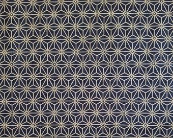 Japanese import new cotton quilting fabric - blue black asanoha hemp leaf