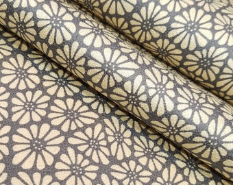 Vintage, silk Kimono fabric - cream beige chrysanthemum pattern over gray - by the yard