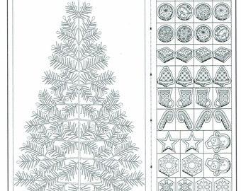 Wagara sashiko pre-printed wash-away panel - Seasons Greetings tree and ornaments