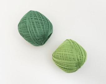Thin weight sashiko thread- green hued colors - 80 meter ball