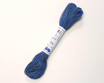 "Sashiko thread - Variegated short pitch Blue ""midnight"" color #98 - 20 meter skein"