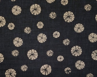 Japanese import new cotton fabric - Morikiku Japan faux shibori circles in black and indigo hue
