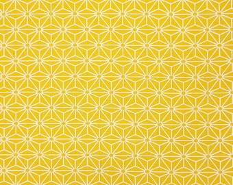 Yamaoka Japan goldenrod hued hemp leaf asanoha pattern cotton fabric