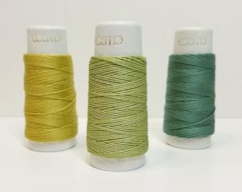 Lecien Cosmo Hidamari sashiko thread - Green hued solid colors - 30 meter skein