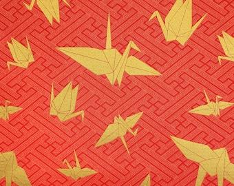 "Kokka Japan ""Yuka"" Gold Origami Cranes over red-orange"