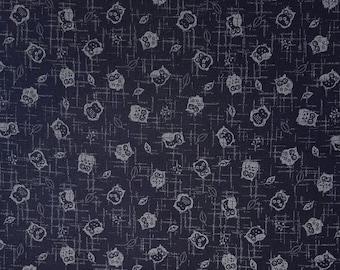 Traditional indigo basics quilting cotton  - owl pattern