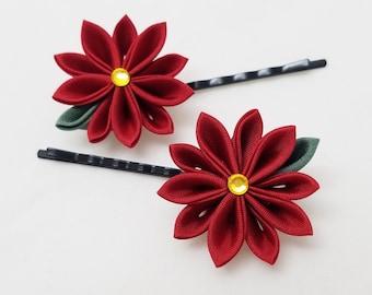 Red poinsettia Kanzashi Christmas or holiday bobby pin set