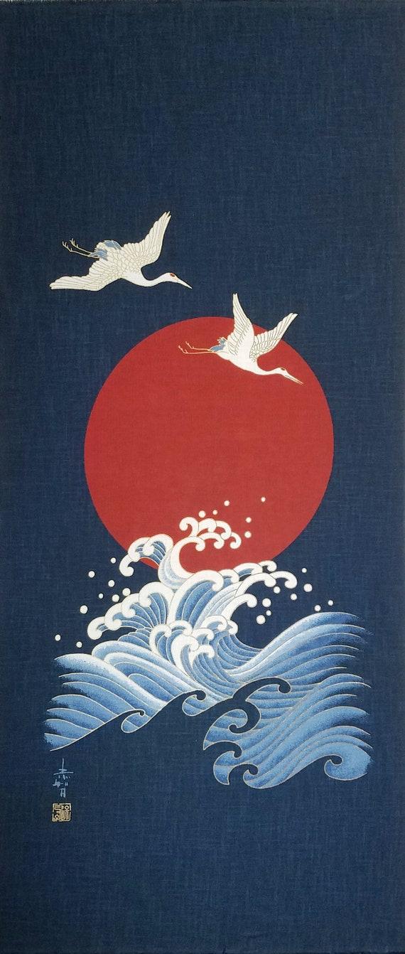50cm x 114cm Noren Japanese Dragon And Koy Carp Fish Cotton Quilting Panel