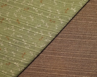 Sevenberry Japan reversible double sided dragonfly and wave dobby cotton in sage green and brown