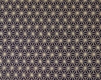 New, Quilt Gate cotton canvas fabric - Hyakka Ryoran Indigo II asanoha hemp leaf pattern