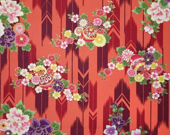Quilt Gate Hyakka Ryoran Suzune cotton - feather and floral over coral orange hue