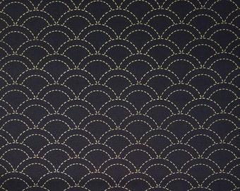 Olympus dark navy pre-printed wash-away sashiko fabric -  wave seigaiha pattern