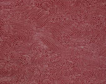 Sevenberry Japan Nara Homespun cotton canvas fabric -  white waves over brick red