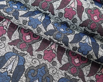 Vintage blue and red-violet abstract floral wool blend kimono fabric - by the yard