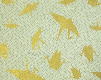 "Kokka Japan ""Yuka"" Gold Origami Cranes over ecru beige hue"