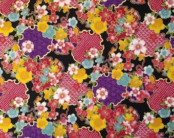 Sevenberry Japan Sakura Brook Metallic Collection - Black Sakura and Medallions Floral cotton fabric