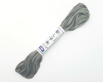 Sashiko thread - Variegated short pitch Gray color #96 - 20 meter skein