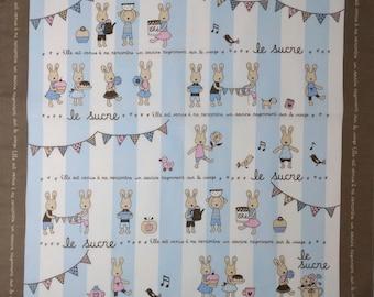 Japanese cotton tenugui hand towel cloth - le sucre bunny rabbit blue and white