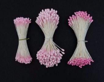 Flower stamens for Kanzashi Tsumami - pink hues