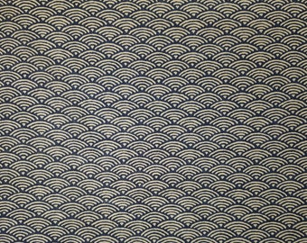 Japanese import new cotton quilting fabric - blue black waves