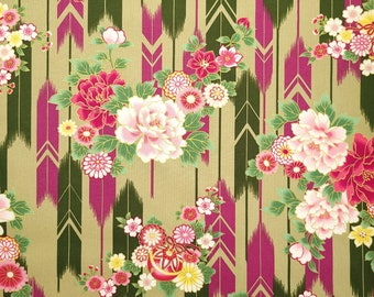 Quilt Gate Hyakka Ryoran Suzune cotton - feather and floral over olive green hue