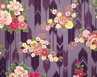 Quilt Gate Hyakka Ryoran Suzune cotton - feather and floral over violet hue