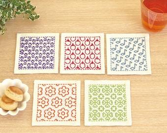 Olympus Japan hitomezashi sashiko pre-printed wash-away sampler kit - coaster kit on off-white cotton