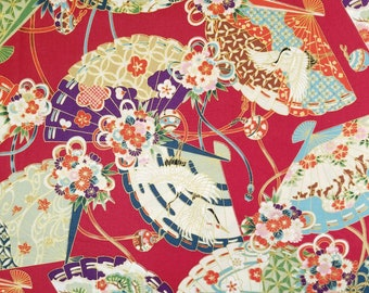 Quilt Gate Hyakka Ryoran Suzune cotton - fans and floral over red