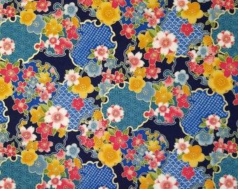 Sevenberry Japan Sakura Brook Metallic Collection - Navy Sakura Floral cotton fabric
