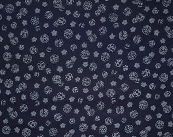Traditional indigo basics quilting cotton  - Temari ball and plum blossome ume
