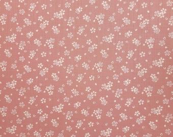 Sevenberry Japan Nara Homespun cotton canvas fabric - sakura cherry blossoms over muted pink hue