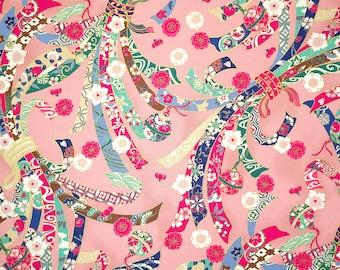 Quilt Gate Hyakka Ryoran Suzune cotton - Noshi and Bells over pink