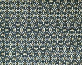 Yamaoka Japan blue green hemp leaf asanoha pattern cotton fabric
