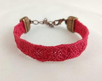 Deep pink bracelet created with vintage, silk kumihimo obijime tie