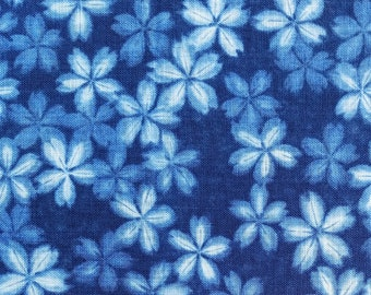 New, Japanese import cotton canvas fabric - blue and white faux shibori sakura