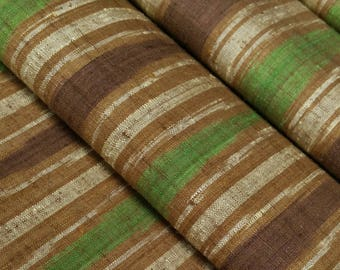 Vintage, green, brown and tan wavy striped Japanese tsumugi, pongee, kimono silk - 39 inches (99 cm)