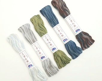 Variegated Kogin thread - 18 meter skein in cool gray, blue and green hues