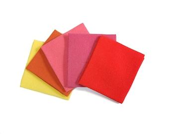 22 x 33cm piece of  Hitokoshi Chirimen crepe fabric for Tsumami Kanzashi - Yellow and Red hues