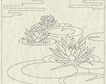 QH Textiles sashiko pre-printed wash-away pattern sampler - water lily pattern on natural beige greige