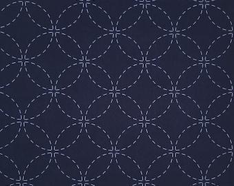 Dark indigo navy pre-printed wash-away sashiko fabric -  shippo tsunagi seven treasures pattern 102-B