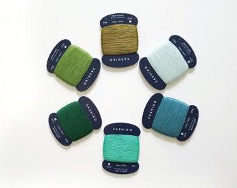 Daruma 20/4 thin sashiko thread - Green hued solid colors - 40 meter skein