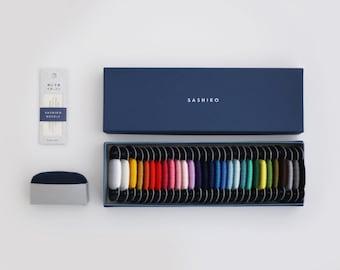 Daruma 20/4 thin sashiko thread - Box set of all 29 solid colors, pin cushion and needles