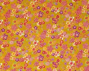 Sevenberry Japan Sakura Brook Metallic Collection - Curry Sakura Floral cotton fabric