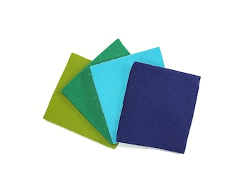 22 x 33cm piece of  Hitokoshi Chirimen crepe fabric for Tsumami Kanzashi - Blue and Green Hues