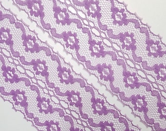 Vintage 2 3/8 inch (6 cm) wide, orchid purple colored, netted floral lace trim- by the yard