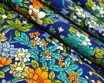 Vintage floral garden wool kimono fabric - by the yard