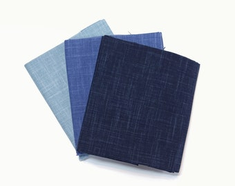 100% cotton yarn dyed needlework sashiko embroidery fabric - Blue hues