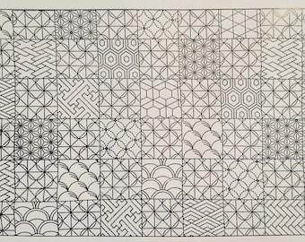 Sashiko pre-printed wash-away pattern sampler panel - patchwork traditional Japanese patterns