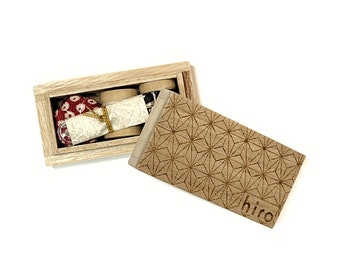 Hiro Co. Japan travel sized sewing kit in Paulownia wood box - Choose your color
